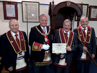 Ex.Comp Hubert Thompson was proudly presented with his 25 year Jewel
